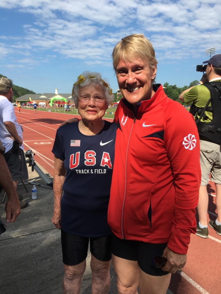Susan Adams Loyd with Julia Hawkins, a 100-year-old world record holder in the 100m dash.